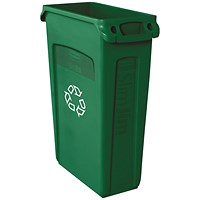 Rubbermaid Slim Jim Venting Channel Container 87 Litre Green
