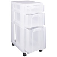 Really Useful Plastic Storage Tower 3 Drawers Clear 7L/12L/25L
