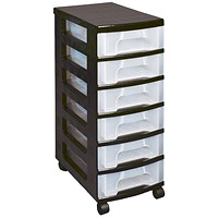 Really Useful Storage Towers, 42 Litre, Black & Clear