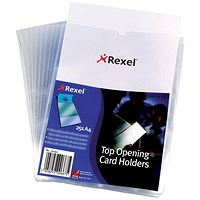 Rexel Polypropylene Card Holder, Wipe-clean, Top-opening, A4, Pack of 25