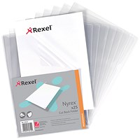 Rexel Nyrex Cut Back Folders, A4, Clear, Pack of 25