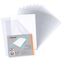Rexel Nyrex Cut Flush Folders, A4, Clear, Pack of 25