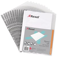 Rexel A4 Reinforced Nyrex Plastic Pockets, Side-Opening, Pack of 25