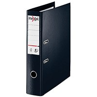 Rexel Choices 75mm Lever Arch File Plastic Foolscap Black