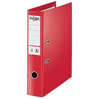 Rexel Choices 75mm Lever Arch File Plastic Foolscap Red