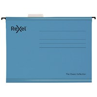Rexel Classic Suspension Files Foolscap Blue (Pack of 25)