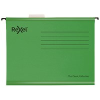 Rexel Classic Suspension Files Foolscap Green (Pack of 25)