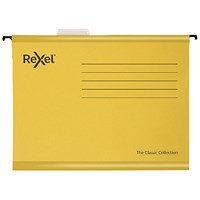 Rexel Classic Suspension Files Foolscap Yellow (Pack of 25)