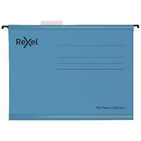 Rexel Classic Suspension Files Foolscap Blue (Pack of 10)