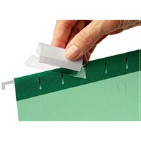 Rexel 50mm Suspension File Tabs with Labels Clear (Pack of 25)