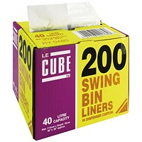 Robinson Young Le Cube Swing Bin Liners, Medium Duty, 46 Litre, 1140x570mm, Black, Pack of 200