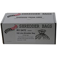 Safewrap Shredder Bags, Capacity 150 Litre, Pack of 50