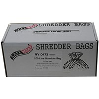Robinson Young Safewrap Shredder Bags, Capacity 200 Litre, Pack of 50