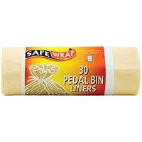 Robinson Young Safewrap Pedal Bin Liners, Heavy Duty, 15 Litre, 457x1066mm, White, 4 Rolls x 30 Sacks