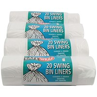 Robinson Young Safewrap Swing Bin Liners, Heavy Duty, 50 Litre, 1220x762mm, White, 4 Rolls x 20 Sacks