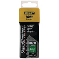 Stanley SharpShooter Heavy Duty 8mm 5/16in Type G Staples (Pack of 1000) 1-TRA705T