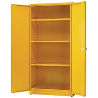 Hazardous Substance Storage Cabinet 72x48x18 inch C/W 3 Shelf Yellow 188733