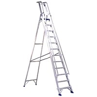 Aluminium Step Ladder With Platform 10 Steps 377860