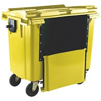 Wheelie Bin With Drop Down Front 1100 Litre Yellow 377977