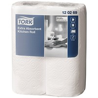 Tork Extra Absorbent Kitchen Roll White, 2-Ply, 24 Rolls