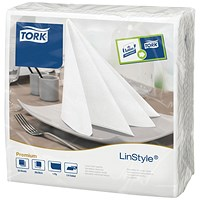 Tork LinStyle Dinner Napkins 4 Fold White (Pack of 50)