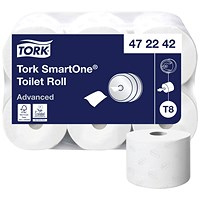 Tork SmartOne Toilet Roll, 2-Ply, White, 6 Rolls of 1150 Sheets
