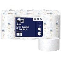 Tork Premium Mini Jumbo Toilet Roll, Embossed, 2-ply, White, Pack of 12