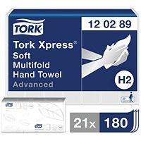 Tork Xpress MultiFold Soft Hand Towels, 2-Ply, White, 21 Stacks of 180 Sheets