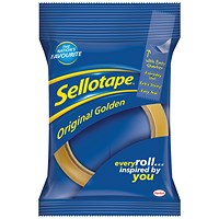 Sellotape Original Golden Tape Rolls - Large, Non-static, Easy-tear, 18mm x 66m, Pack of 16