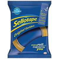 Sellotape Original Golden Tape Rolls - Large, Non-static, Easy-tear, 24mm x 66m, Pack of 12