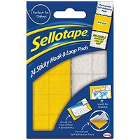 Sellotape Permanent Sticky Hook and Loop Pads, 20x20mm, 24 Sets