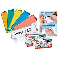 Filertek Suspension File Tabs, Dry Erase, Assorted, Pack of 50