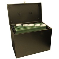 Cathedral Metal File Box Home Office A4 Black