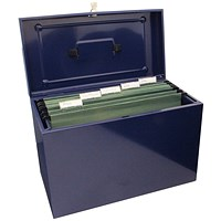 Cathedral Metal File Box Home Office Foolscap Blue