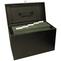 Cathedral Metal File Box Home Office Foolscap Black
