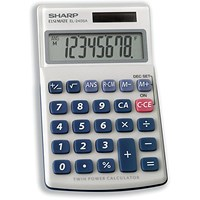 Sharp Handheld Calculator, 8 Digit, 3 Key, Solar and Battery Power, Silver