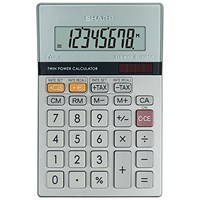 Sharp Desktop Calculator, 8 Digit, 4 Key, Battery/Solar Power, Silver