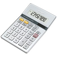 Sharp Desktop Calculator, 10 Digit, 3 Key, Battery/Solar Power, Grey