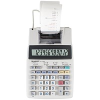 Sharp Desktop Printing Calculator, 12 Digit, 2 Colour Printing, Grey