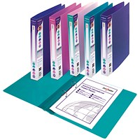 Snopake Executive Ring Binder, A4, 2 O-Ring, 25mm Capacity, Assorted, Pack of 10