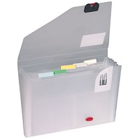 Snopake Expanding Organiser 6 Part A4 Clear (Includes coloured index tabs for personalisation)