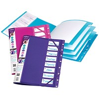Snopake FileLastic Files, 8-Part, A4, Electra, Pack of 5