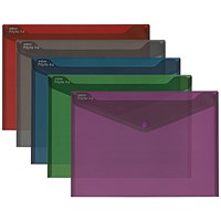 Snopake A4 Polyfile Fusion Wallet, Assorted, Pack of 5