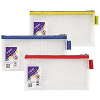 Snopake EVA Mesh Zippa-Bag 133 x 245mm Assorted (Pack of 3)