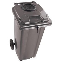 Wheelie Bottle Bank Bin / Aperture Lid Lock / 120 Litre / Grey