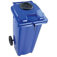 Wheelie Bottle Bank Bin / Aperture Lid Lock / 240 Litre / Blue