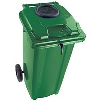 Wheelie Bottle Bank Bin, Aperture Lid Lock, 140 Litre, Green