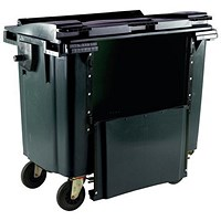 Four-Wheeled Bin with Drop-Down Front, 770 Litre, Grey