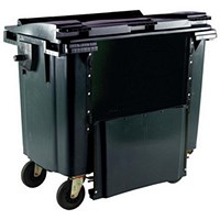 Four-Wheeled Bin with Drop-Down Front, 1100 Litre, Grey