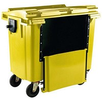 Four-Wheeled Bin with Drop-Down Front, 1100 Litre, Yellow